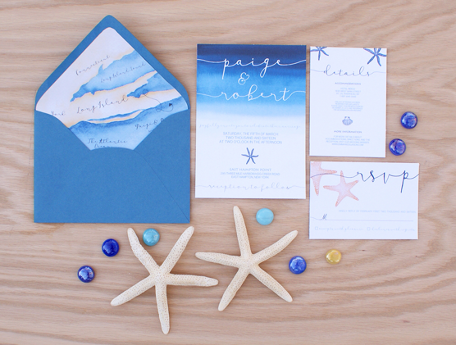 Ocean Themed Wedding Invitation With A Map