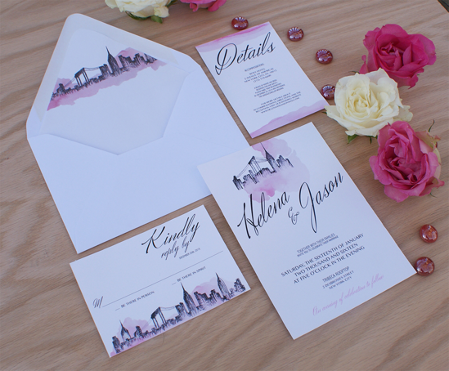 New York City Wedding Invitation Handpainted With Watercolors