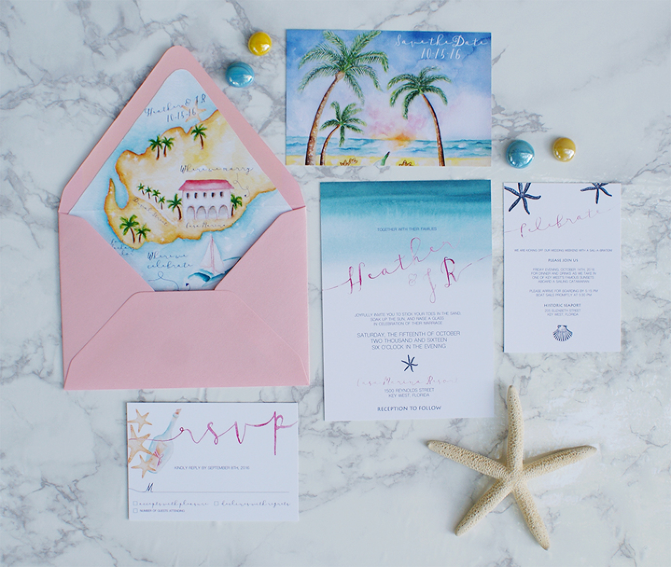 beach wedding invitation watercolor wedding invitations with a wedding map 1590
