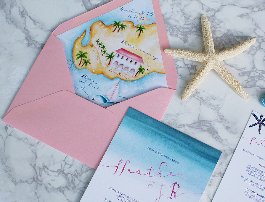 Watercolor Beach Wedding Invitations With A Map Heather