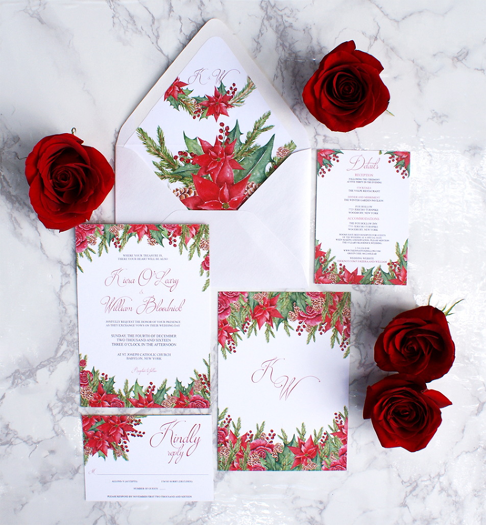 Christmas Themed Watercolor Wedding Invitations